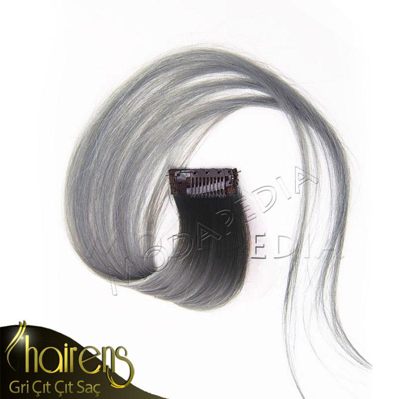 Tek Tokalı Rengi Akmayan Ombre Gri Saç Doğal Çıt Çıt